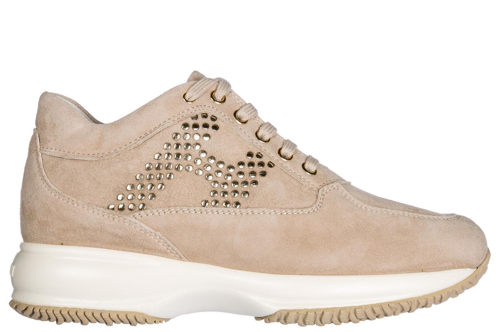 Hogan Damenschuhe Turnschuhe Damen Wildleder Schuhe Sneakers Interactive In Beige