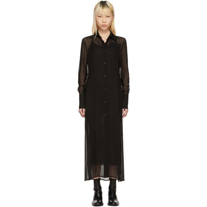 Yang Li Black Floor-Length Shirt Dress