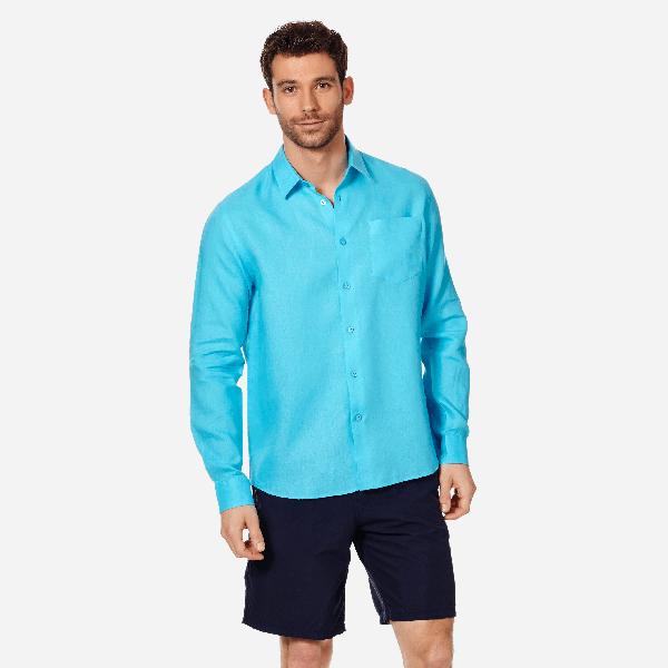 Vilebrequin Men Ready To Wear - Men Linen Shirt Solid - Shirts - Caroubis In Blue