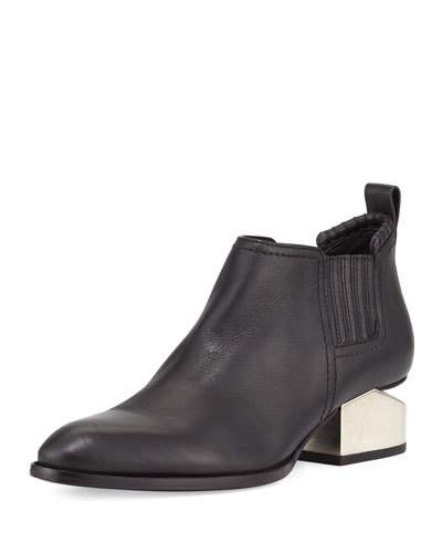 Alexander Wang Kori Tumbled Black Leather Anke Boots W/Rosegold Metal Heel