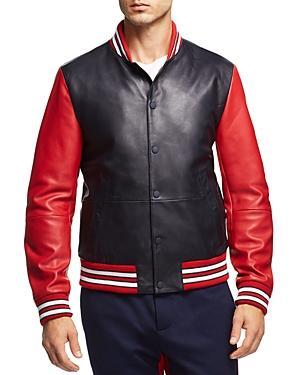 Tommy Hilfiger Essential Leather Varsity Bomber Jacket In Navy Blazer