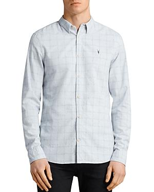 Allsaints Rowhill Regular Fit Button-Down Shirt In Celest Blue