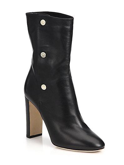 Jimmy Choo Dayno 85 Black Soft Nappa Leather Mid Calf Boots