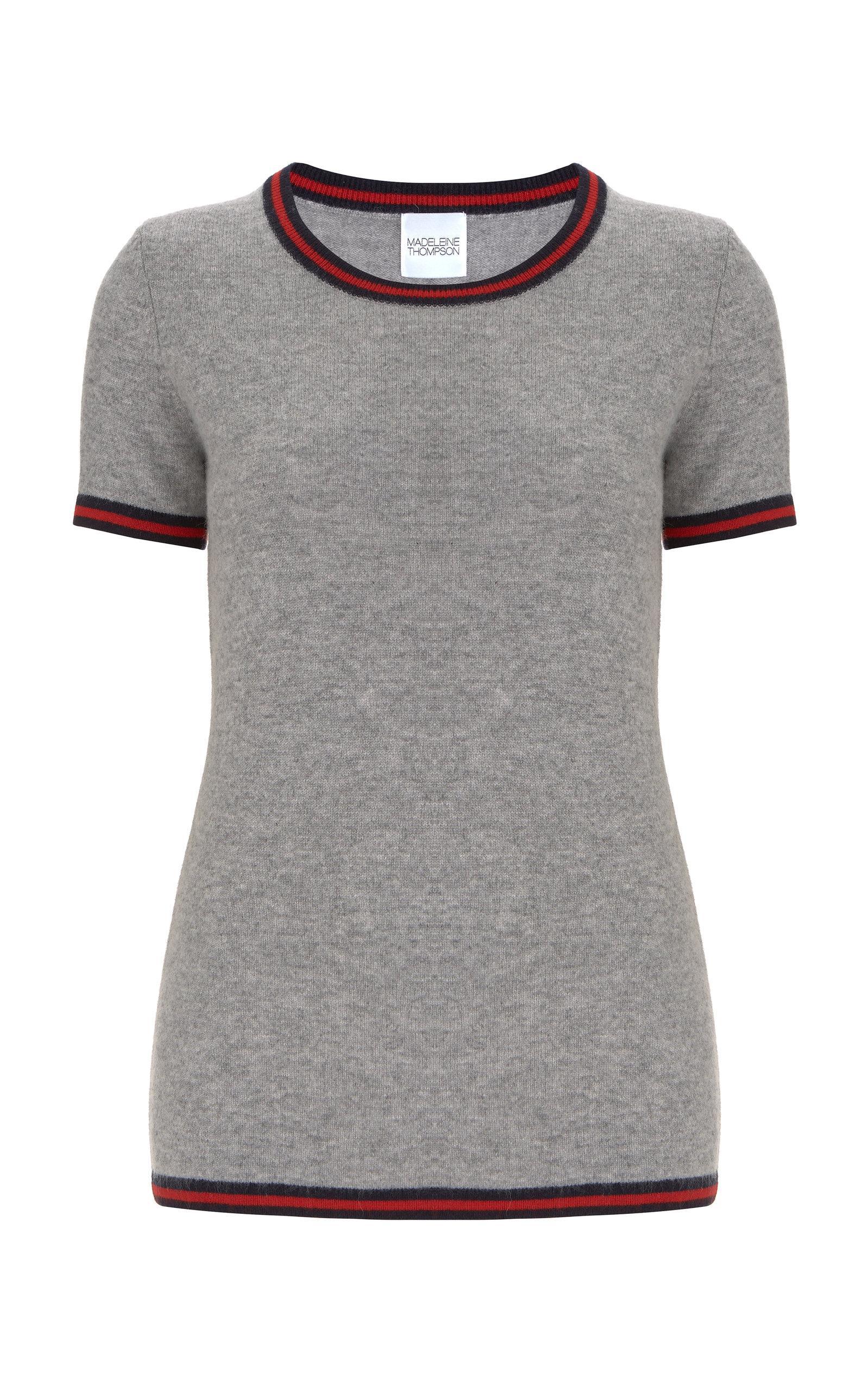 5ed802a4877dd Madeleine Thompson Hoth Striped Crewneck T-Shirt In Grey | ModeSens