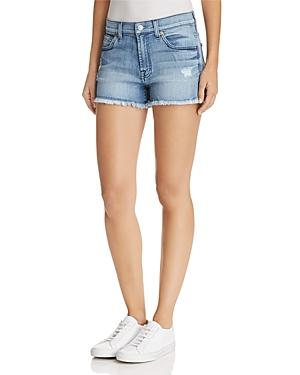 7 For All Mankind Cutoff Denim Shorts In Paradise Sky - 100% Exclusive In Blue