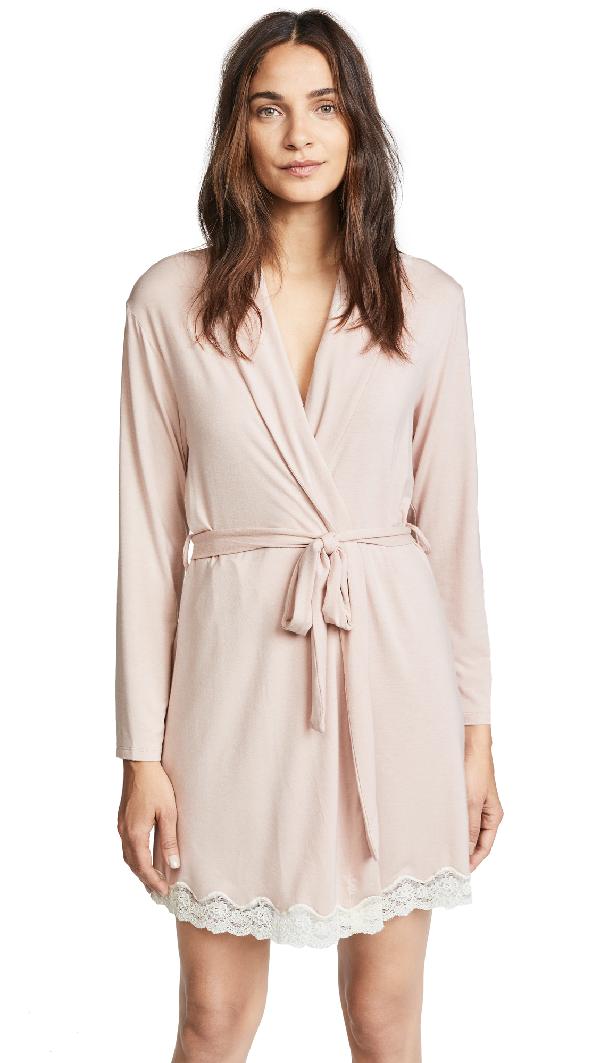 Eberjey Lady Godiva Robe In Pink Clay/Off White