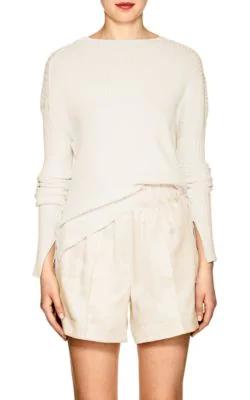 Helmut Lang Rib-Knit Paper-Blend Asymmetric Sweater