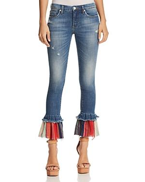 Contrast-Hem Flared Jeans In Missed Connections