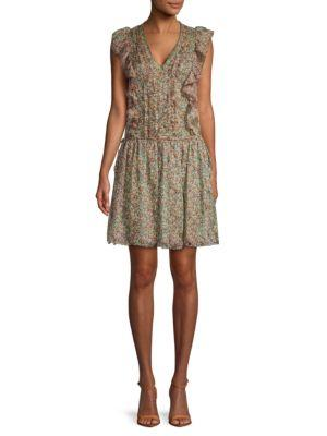Zadig & Voltaire Rimana Printed Deluxe Silk Dress In Beige Multi