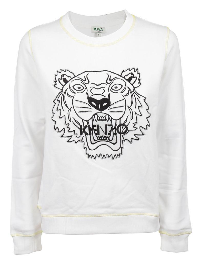 71065349 Kenzo White Sweatshirt With Logo Embroidery In Blanc | ModeSens