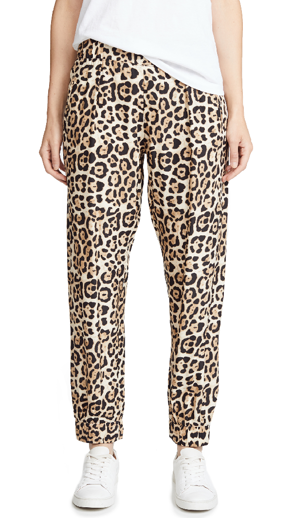 Atm Anthony Thomas Melillo Leopard-print Silk-charmeuse Track Pants In Leopard Print