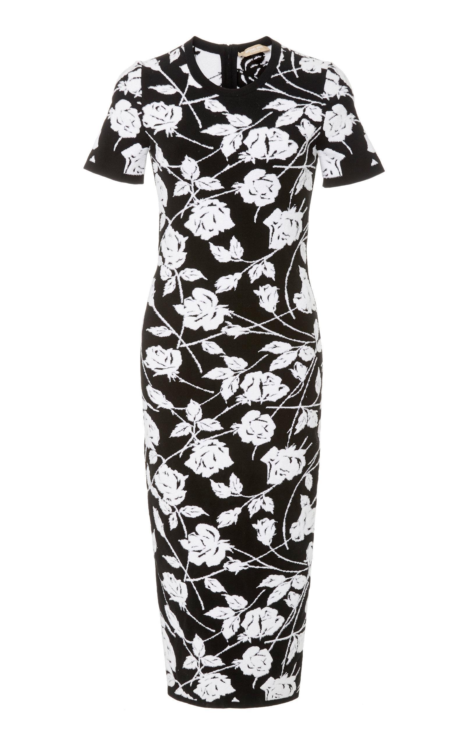09f384328d Michael Kors Stencil Rose Jacquard Sheath Dress In Black White ...