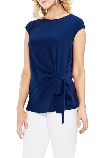 Vince Camuto Side Tie Ruched Stretch Crepe Top In High Tide