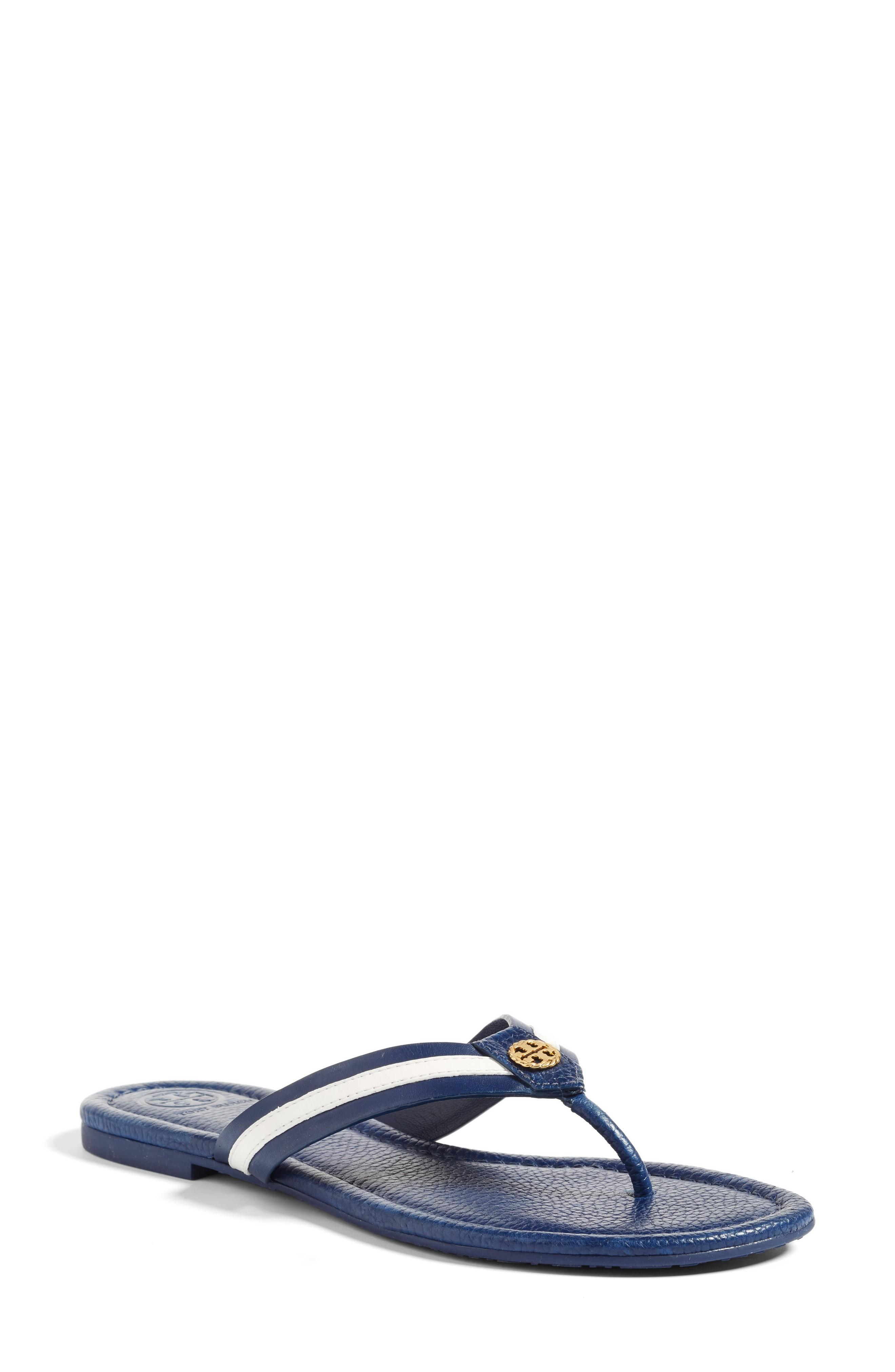 3009216da25 ... a golden logo medallion detailing the leather thong strap gets you  ready to set sail in polished maritime style. Style Name  Tory Burch  Maritime Flip ...