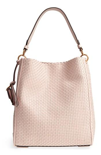 9e789300c3 Cole Haan Zoe Rfid Leather Bucket Hobo - Pink In Peach Blush | ModeSens