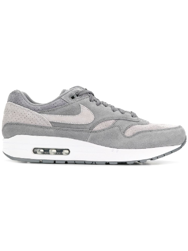Air Max 1 Premium Leather trimmed Suede And Mesh Sneakers In Grey