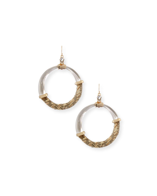 Alexis Bittar Raffia/Lucite Hoop Earrings In Silver