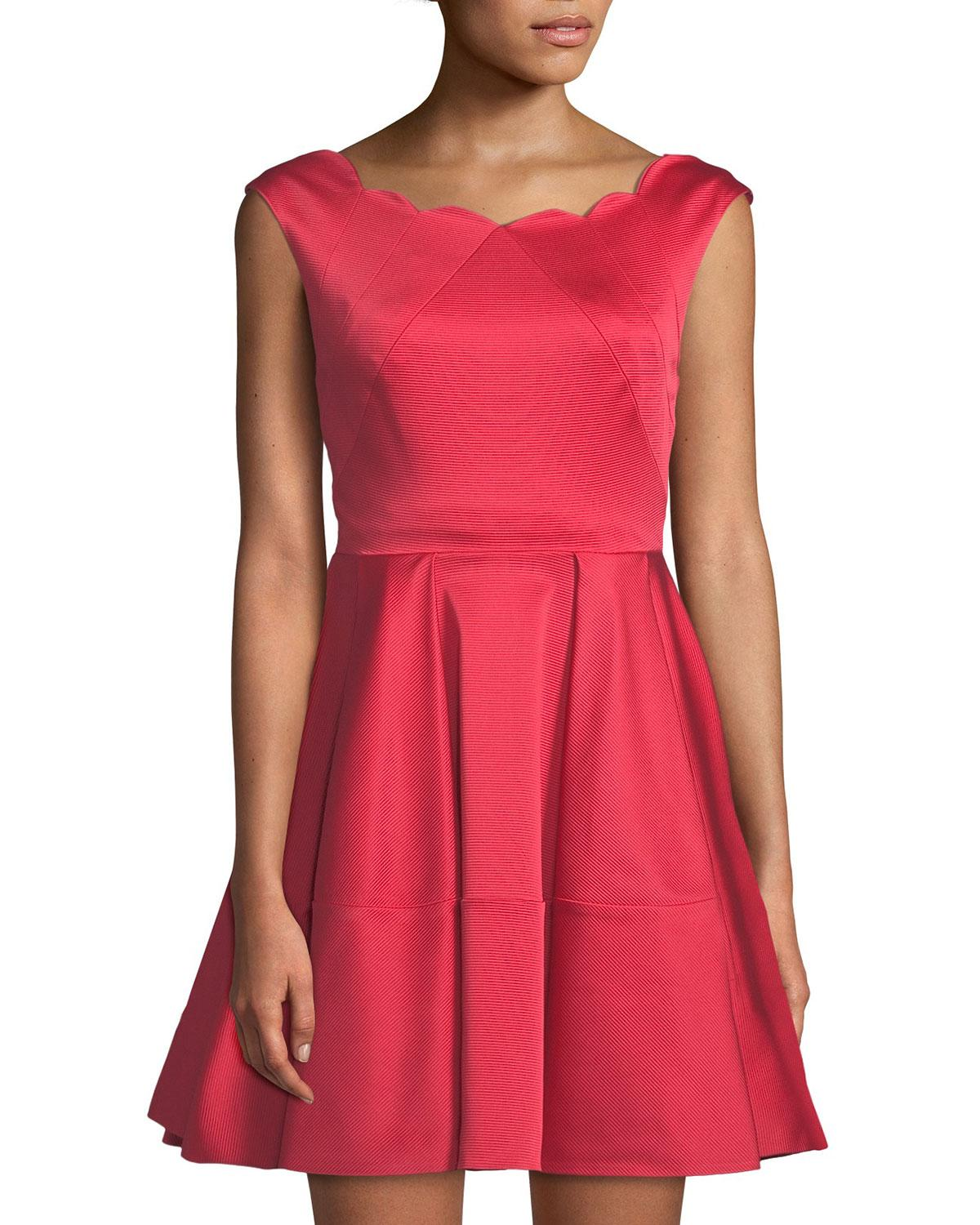 Zac Posen Cordelia Scalloped Fit & Flare Gown In Coral