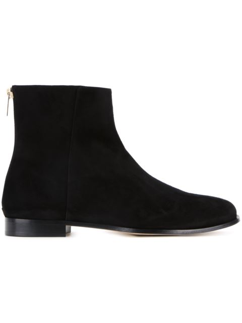 9c9d21a2178 Jimmy Choo Duke Flat Suede Ankle Boots In Black