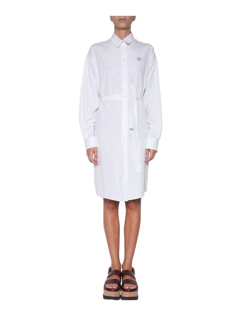 Kenzo Cotton Poplin Shirt Dress In Bianco