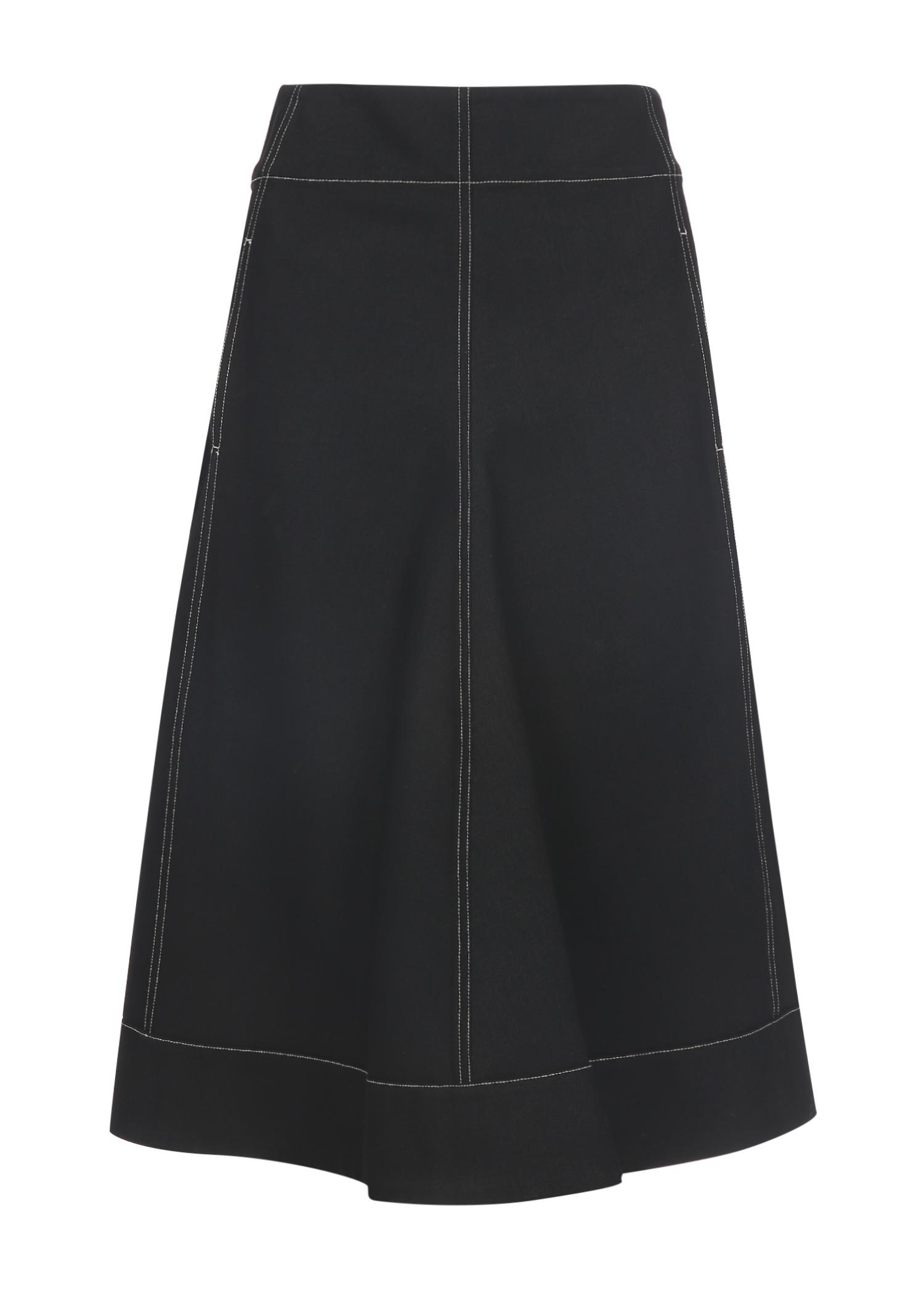 Lemaire Flared Denim Skirt In Black
