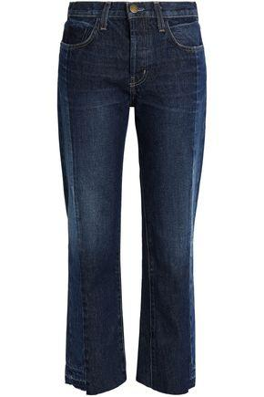 Current Elliott Current/Elliott Woman Two-Tone Mid-Rise Straight-Leg Jeans Dark Denim In Mid Denim