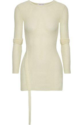Helmut Lang Woman Ruched Open-knit Top Cream