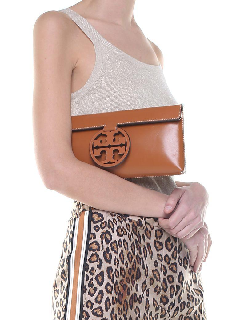 cdbb2b9d30a Tory Burch Miller Smooth-Leather Clutch In Camel   ModeSens