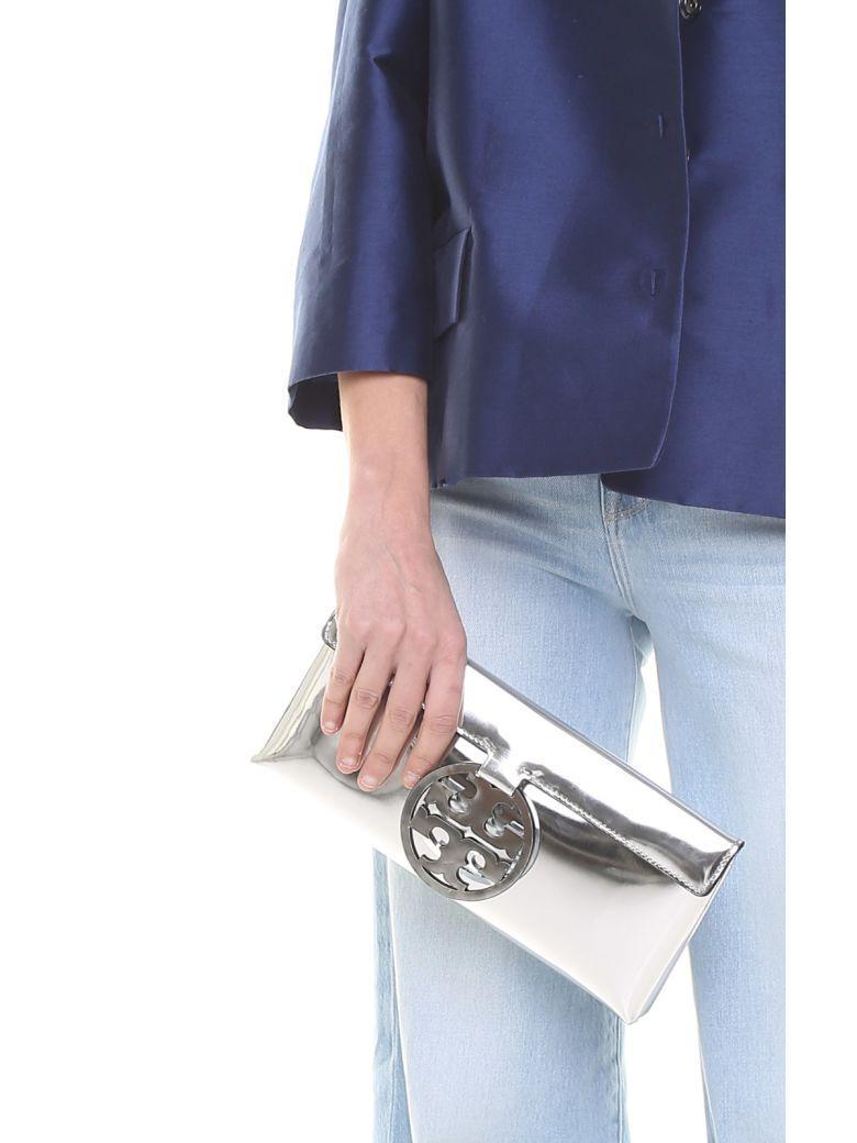 5ae33ec8e011 Tory Burch Miller Mirrored-Leather Clutch In Silver