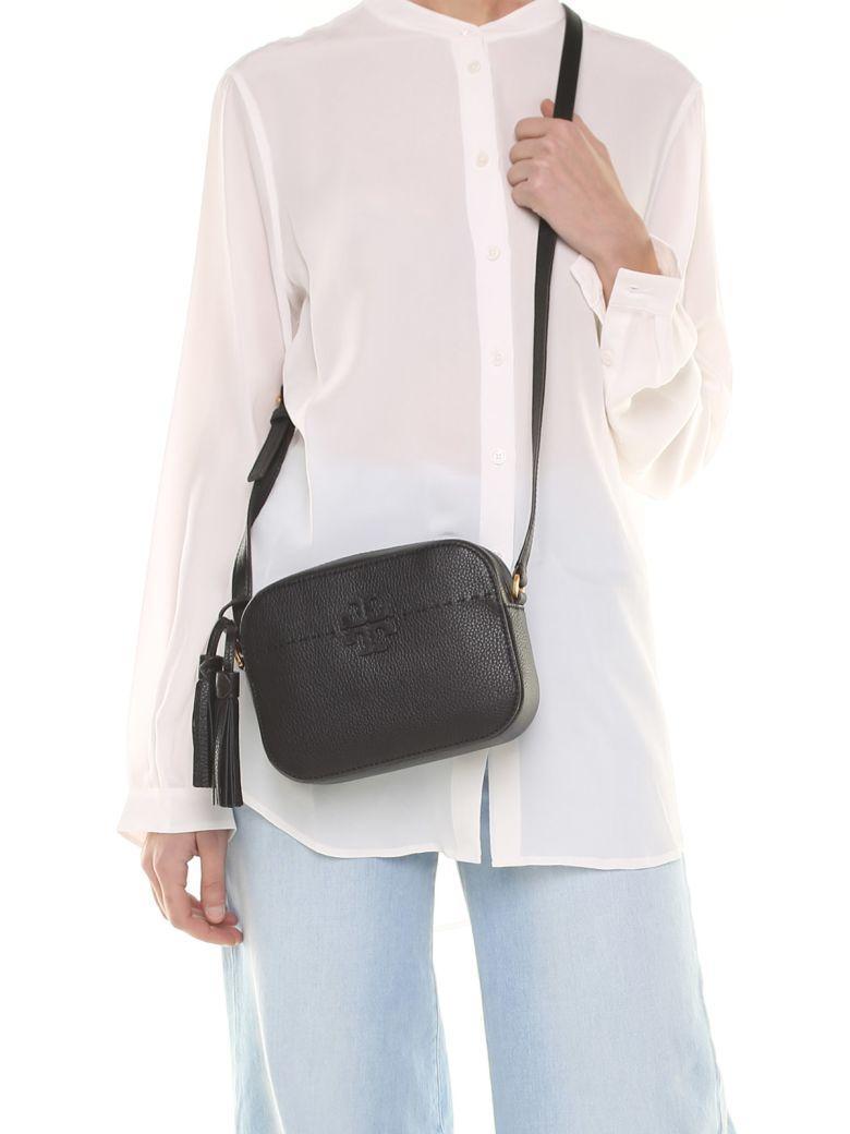 Tory Burch Mcgraw Camera Bag Pebbled-Leather Cross-Body Bag In Nero ... 3844ba4ff85e9