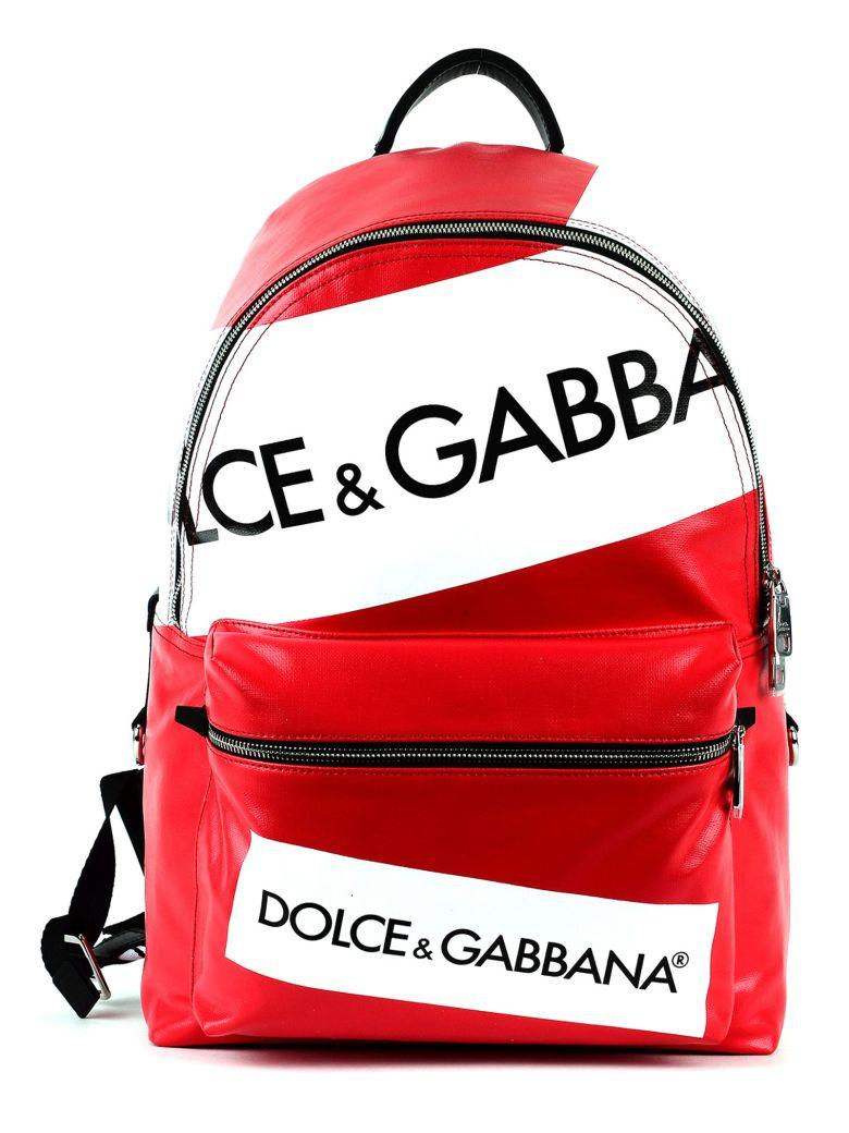 94a0f2444fbc Dolce   Gabbana Dolce Gabbana Vulcano Backpack In Resinated Canvas With  Logo Printing In Red