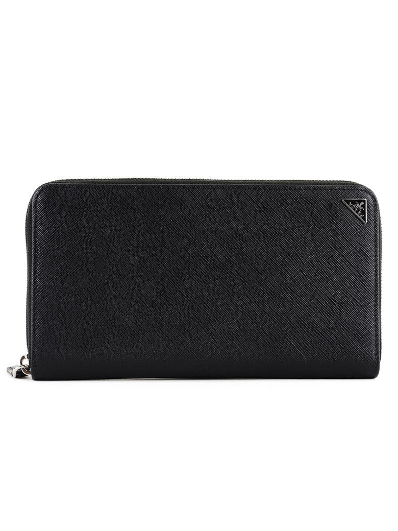 313f035cf30f3d Prada Zip Around Wallet In Saffiano Leather With Pencil In Black ...