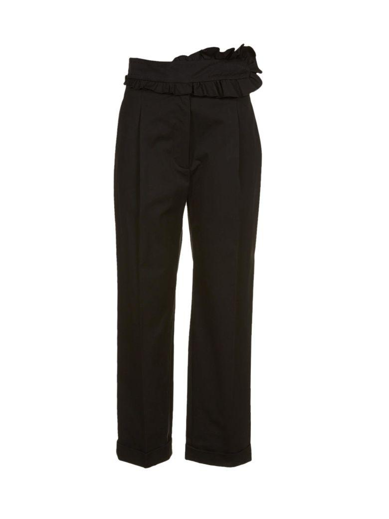 Carven Ruffle Front Cropped Trousers In Nero