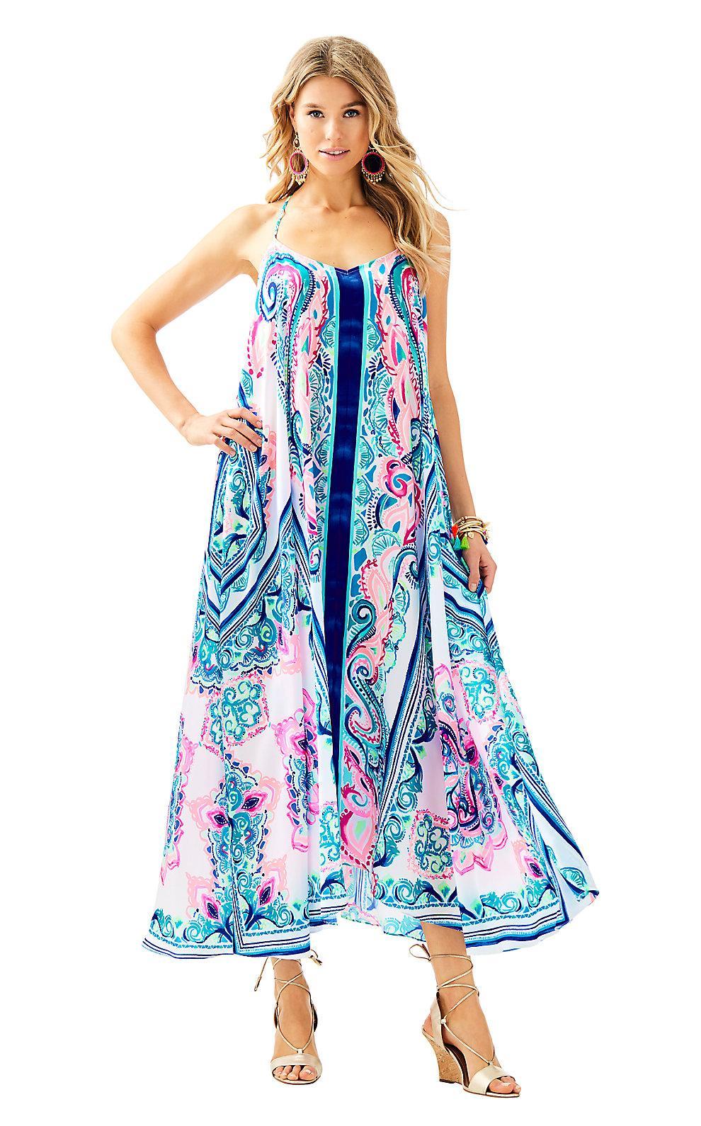 2576a3b582 Lilly Pulitzer Womens Juna Maxi Dress In Multi Surf Sayulita Engineered Maxi  Front