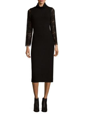 Alice And Olivia Embroidered Sheath Dress In Black