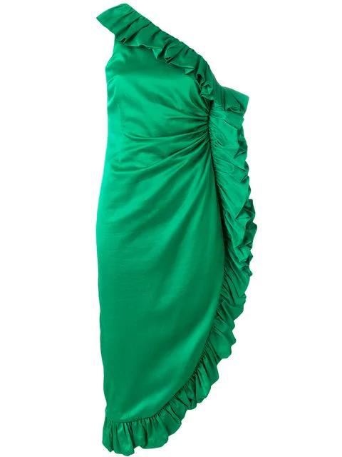 ff3c54b7 Attico One-Shoulder Ruffled Hammered Cotton-Blend Satin Dress In Green