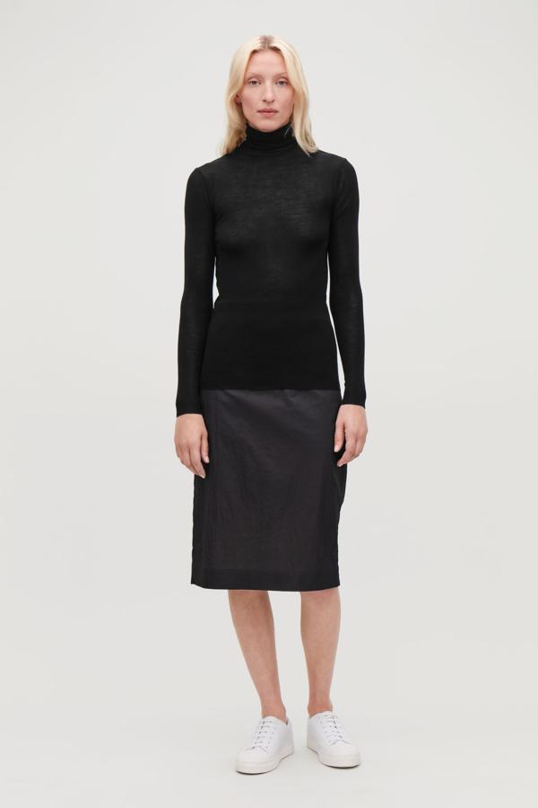Cos Fine Roll-neck Wool Top In Black
