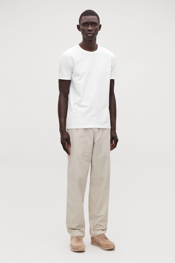 Cos Round-neck T-shirt In White