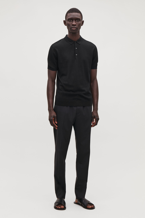 Cos Silk-cotton Knit Polo Shirt In Black