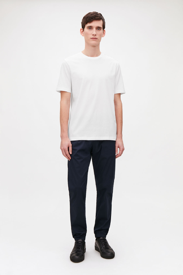 Cos Rib-neck Brushed-cotton T-shirt In White