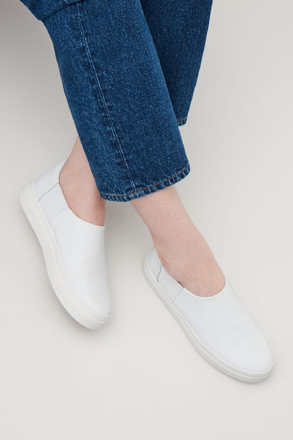 1d44522d31fe8 Cos Slip-On Leather Sneakers In White