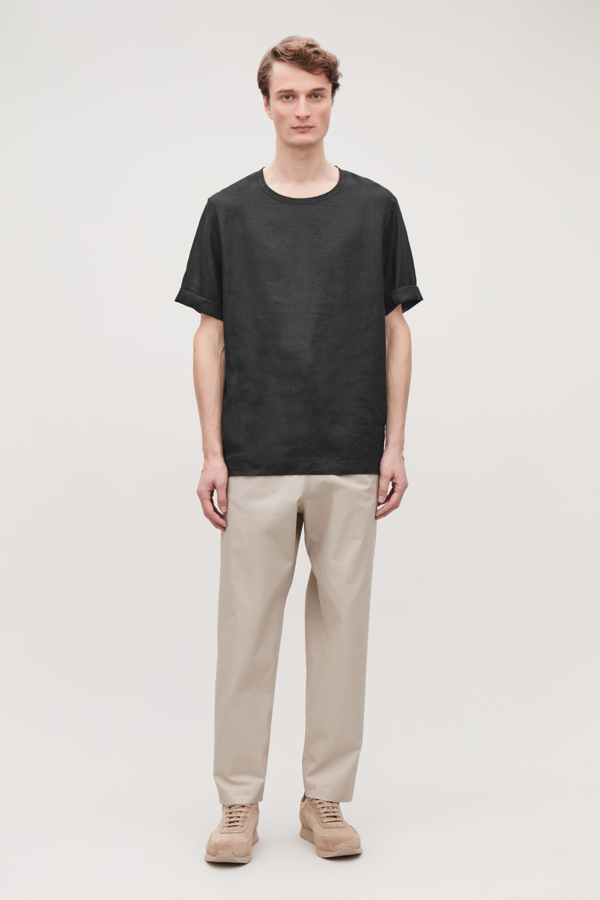 Cos Oversized Linen T-shirt In Black