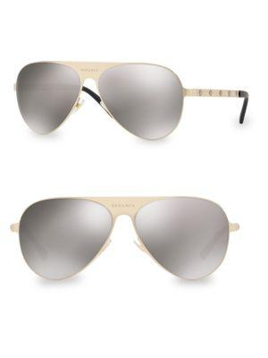 Versace 59Mm Aviator Sunglasses In Grey Mirror