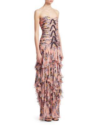 Cinq À Sept Emira Strapless Dress In Peach Bud Multi