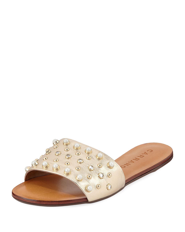 e040f2a3989f0 Carrano Ella Flat Studded Sandal In Ligtht Gold