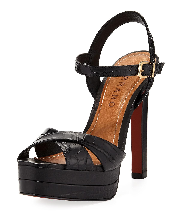 eb293443830b2 Carrano Tara Leather Platform Sandal In Black