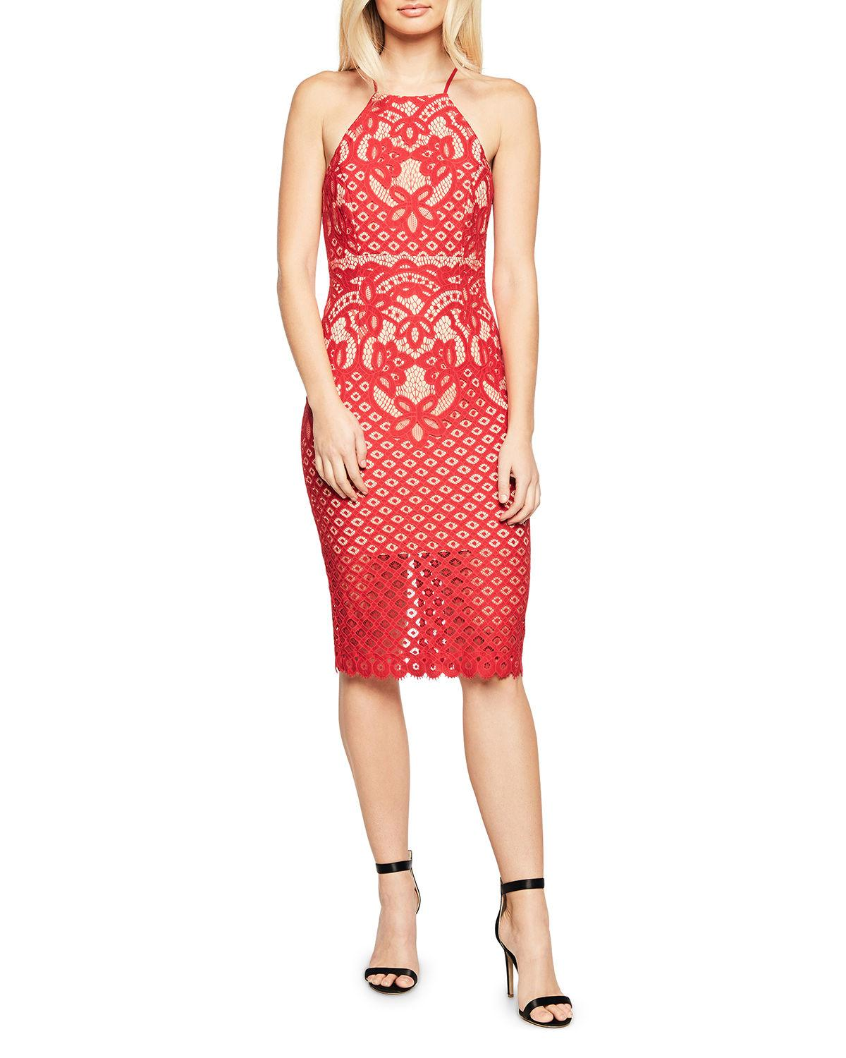 Mila Lace High Neck Dress In Red