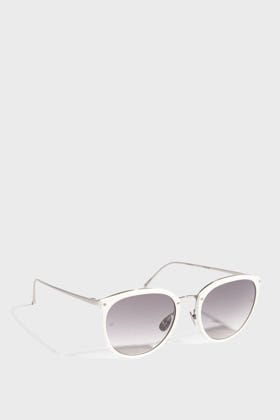 Linda Farrow Luxe Round-frame Acetate And Silver-tone Sunglasses In White