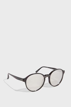 Linda Farrow Luxe Round-frame Acetate Mirrored Sunglasses In Metallic