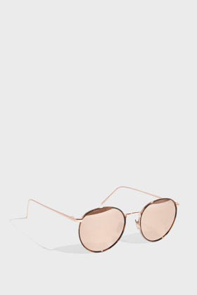Linda Farrow Luxe Round-Frame Tortoiseshell Acetate Mirrored Sunglasses In R Gold